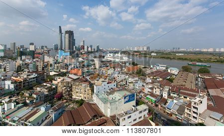 HO CHI MINH, VIETNAM - JAN 10, 2015: Top view panorama of Ho Chi Minh City. Is located in the South of Vietnam, is the country's largest city, population 8 million.