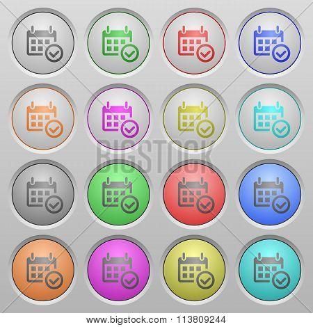 Calendar Check Plastic Sunk Buttons