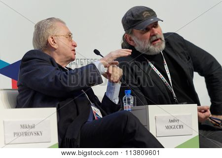 ST. PETERSBURG, RUSSIA - DECEMBER 16, 2015: Director the State Hermitage Museum Mikhail Piotrovsky (left) and theater director Andrey Moguchy during 4th St. Petersburg International Cultural Forum