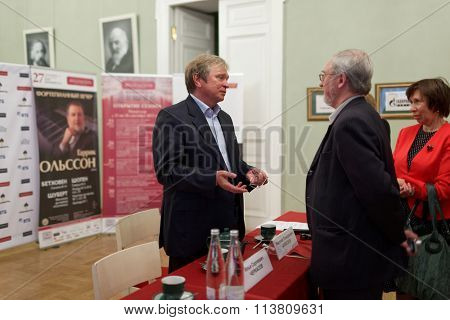 ST. PETERSBURG, RUSSIA - SEPTEMBER 21, 2015: Deputy artistic director of St. Petersburg Philharmonic hall Nikolay Alekseev (center) during press conference dedicated to opening of 95th season