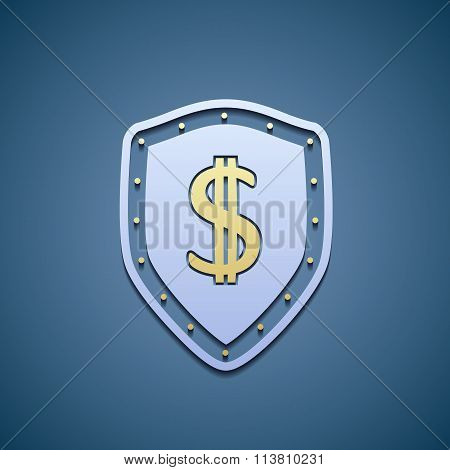 Dollar Sign On A Shield.