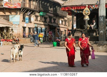 Typical Indian Woman On Street In Bhaktapur