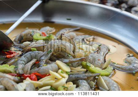 Raw Shrimp Marinated In Spicy Fish Sauce, Thai Cuisine