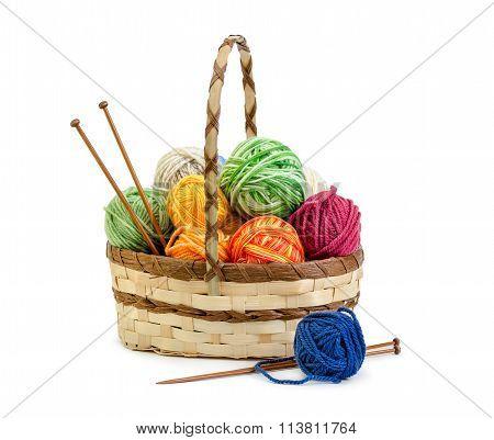 Wicker Basket With Balls Of Yarn
