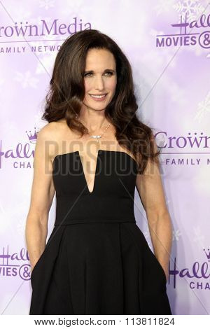 LOS ANGELES - JAN 8:  Andie MacDowell at the Hallmark Winter 2016 TCA Party at the Tournament House on January 8, 2016 in Pasadena, CA