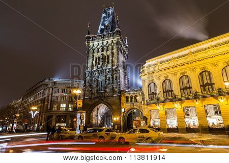 Powder Tower And Municipal House In Prague At Night