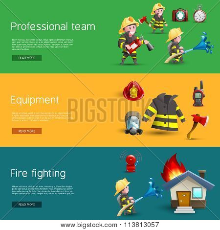 Firefighters Team Equipment Horizontal Banners Set