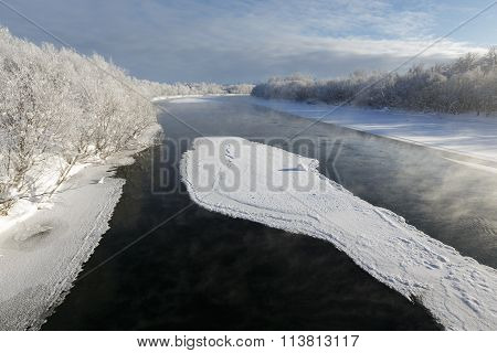 Beautiful Winter Landscape: View Of Kamchatka River. Eurasia, Russia, Far East