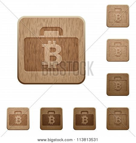 Bitcoin Bag Wooden Buttons