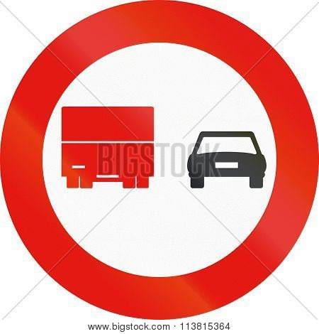 Road Sign Used In Spain - Overtaking Banned For Trucks
