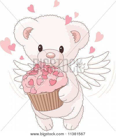 Teddy Bear Angel Bringing The Love Cupcake