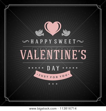 Valentines Day greeting Card or Poster and Heart vector illustration