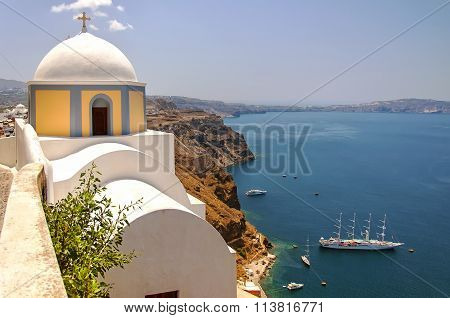 Fira Church Overlooking The Caldera