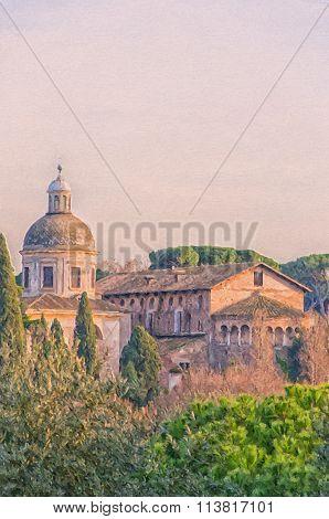Rome Basilica Santi Giovanni E Paolo Digital Painting