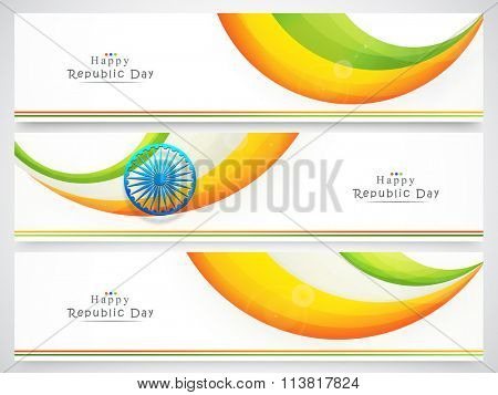 Set of glossy website headers or banners with National Flag colours waves and Ashoka Wheel for Happy Indian Republic Day celebration.