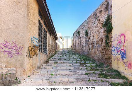 Stone Stairs In Cretan Village In Crete Island
