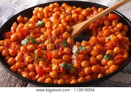 Indian Food: Chana Masala Closeup. Horizontal