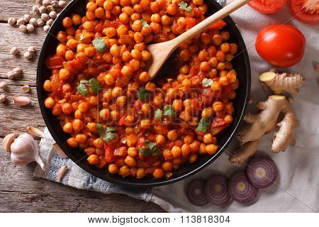 Indian Chana Masala With Ingredients Close-up. Horizontal Top View