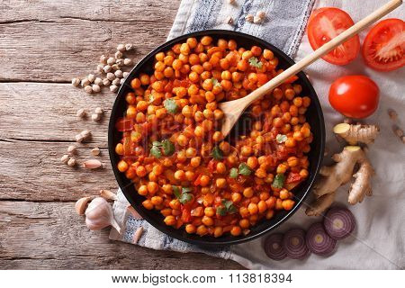 Indian Chana Masala With Ingredients. Horizontal Top View