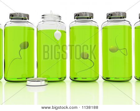 Several Banks With Sperm On White Background