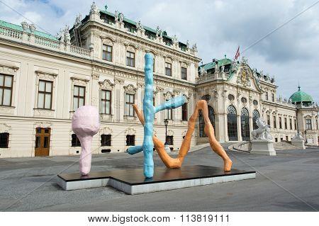 Franz West's Modern Sculpture At Belvedere Palace In Vienna.