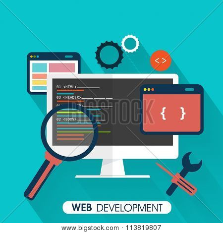 Web Development concept with digital devices on sky blue background.