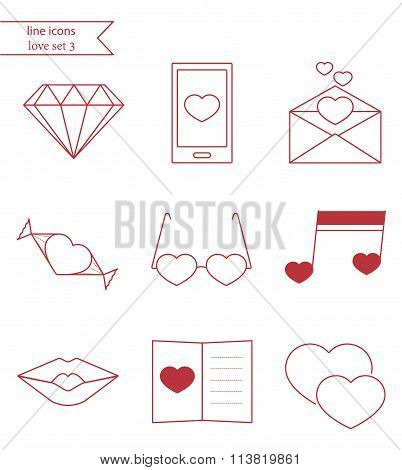 Vector line style icons. Love set 3