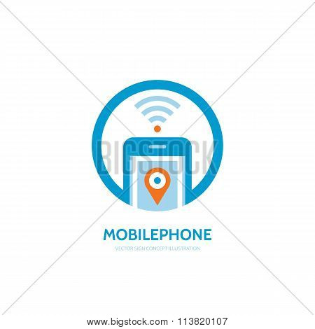 Mobile location vector logo concept illustration. Smarthone vector logo design. GPS location logo.