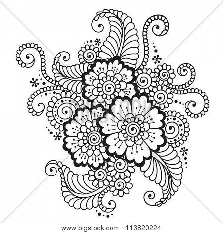 Hand-Drawn Abstract Henna Mehndi Flower Ornament