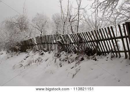 Wood fence by snow