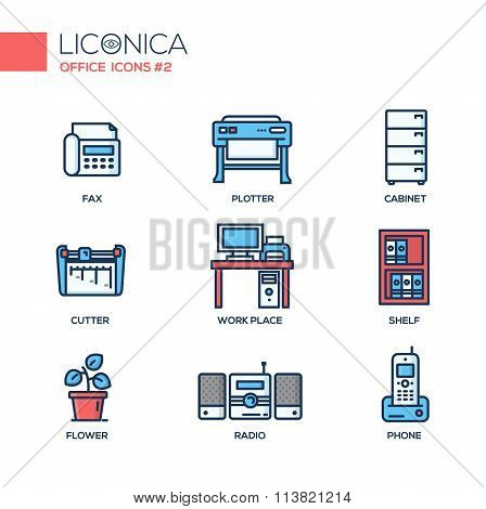 Set of modern office line flat design icons and pictograms.