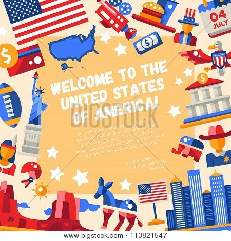 Flat design USA travel flyer with icons, famous American symbols