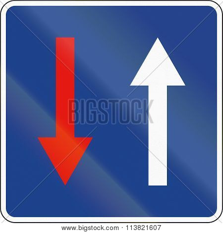 Road Sign Used In Spain - Priority Over Oncoming Traffic