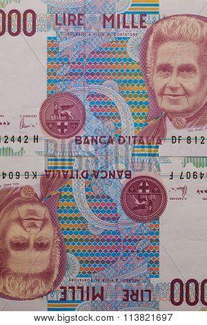 Detail Of Italian Lira Money