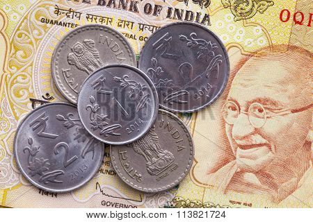 Different Banknotes And Coins  Of Indian Money