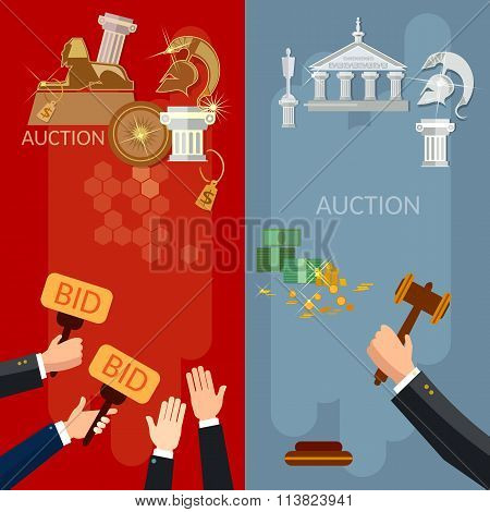 Auction Vertical Banners Selling Antiques And Real Estate