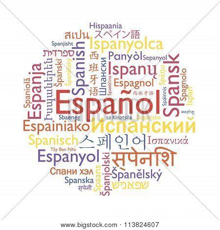 Spanish language word collage.