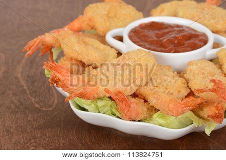 macro shrimp and sauce shallow DOF