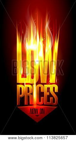 Low prices now on, hot fiery sale vector design with arrow move down, against dark backdrop.
