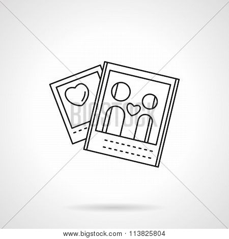 Lovers photo flat line vector icon