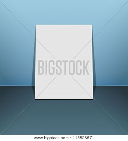 Blank photo frame canvas on blue