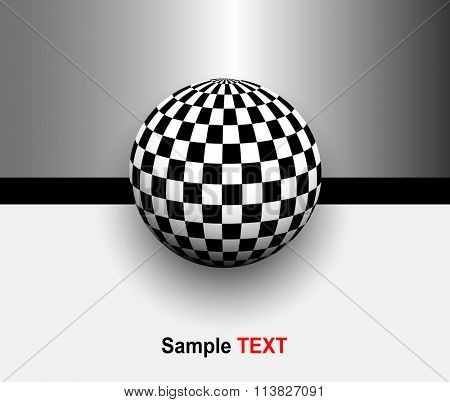 Abstract background 3d with black and white, checkered sphere, vector illustration