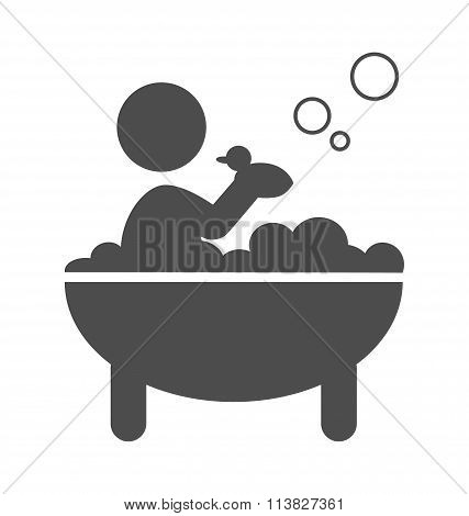 Baby takes a bath with rubber duck pictogram flat icon isolated