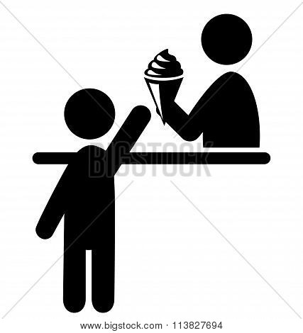 Summertime Pictogram Flat People and Ice Cream Store Icon Isolat