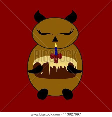 Beautiful Pattern Of Sleeping Cute Little Animal With Birthday Cake In The Paws