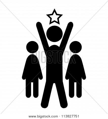 Outstanding Man Win Leader People Flat Icons Pictogram Isolated