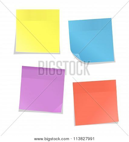 Multicolored stickers for note isolated on white
