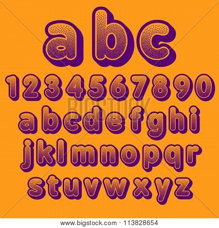Stock Vector font pointillism. Letters and Numbers