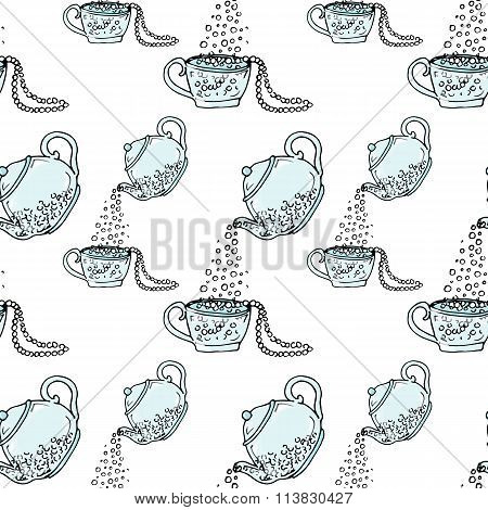 Illustration Teapot And Cup, Hand Drawn. Necklace And Beads. Seamless Pattern.