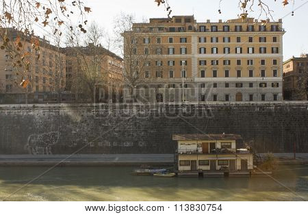 Houseboats On Tiber River In Rome